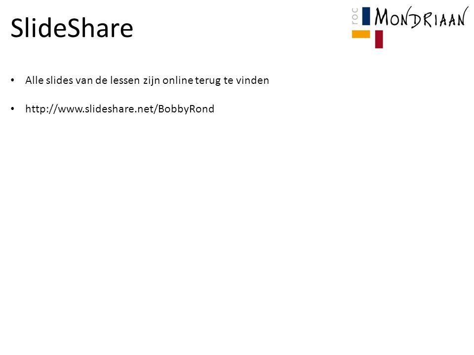 SlideShare Alle slides van de lessen zijn online terug te vinden