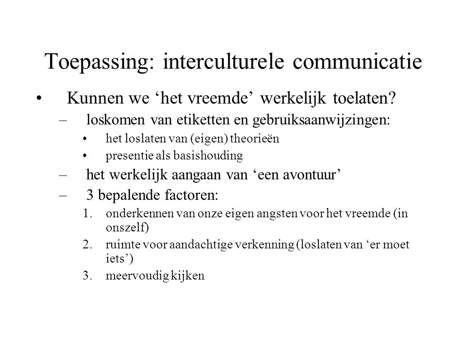 Toepassing: interculturele communicatie
