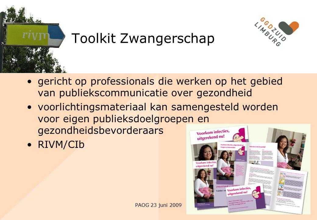 Toolkit Zwangerschap gericht op professionals die werken op het gebied van publiekscommunicatie over gezondheid.