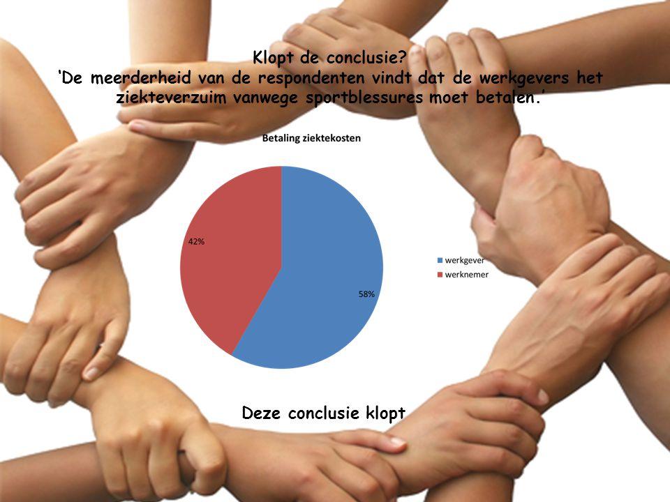 Klopt de conclusie 'De meerderheid van de respondenten vindt dat de werkgevers het ziekteverzuim vanwege sportblessures moet betalen.'