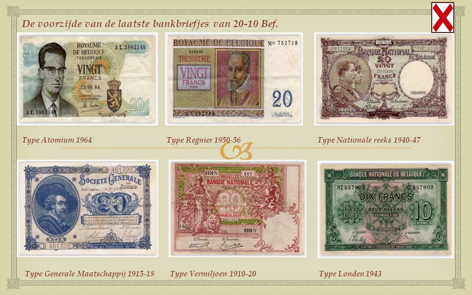 De voorzijde van de laatste bankbriefjes van 20-10 Bef.