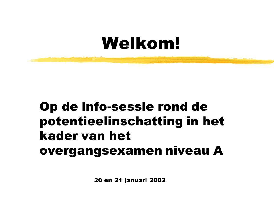 Welkom! Op de info-sessie rond de potentieelinschatting in het kader van het overgangsexamen niveau A.