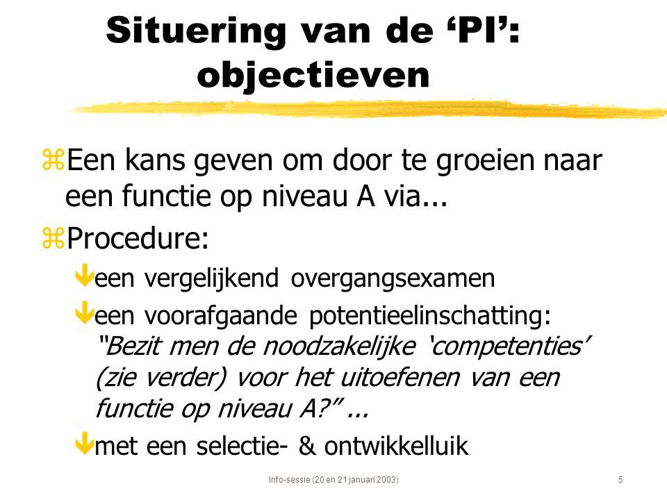 Situering van de 'PI': objectieven