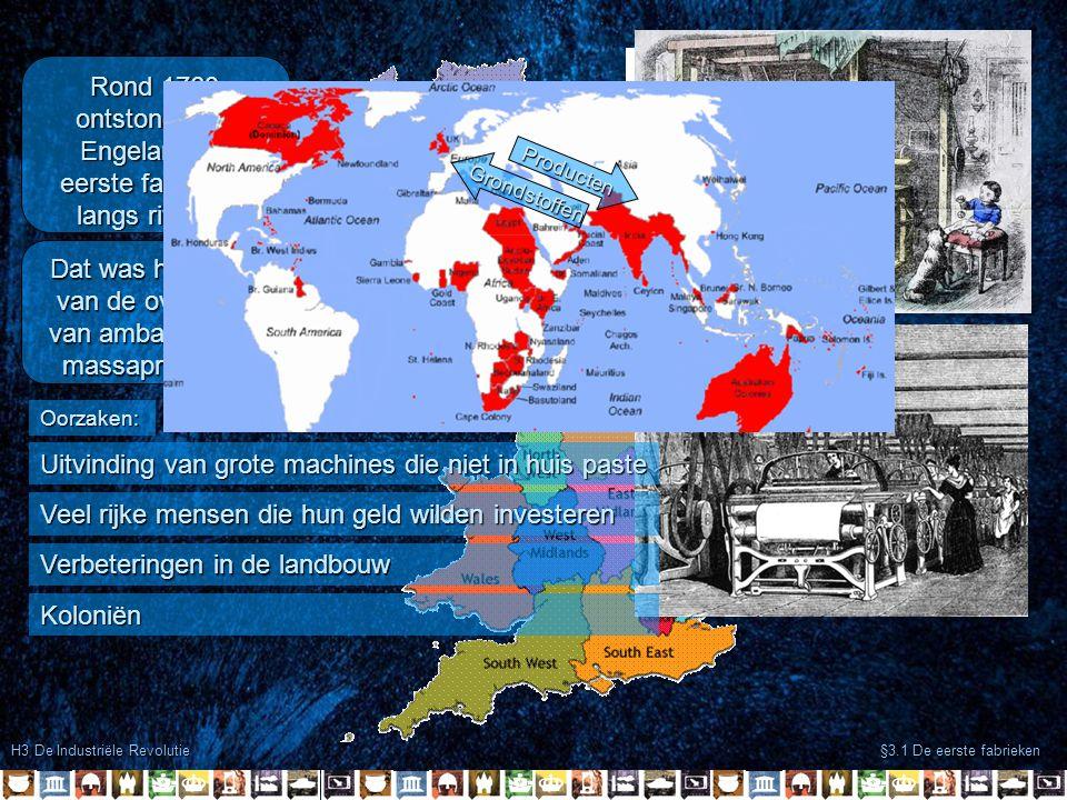 Rond 1760 ontstonden in Engeland de eerste fabrieken langs rivieren