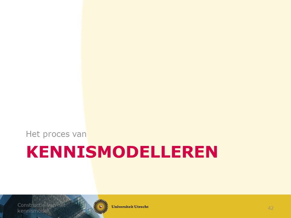 Het proces van Kennismodelleren Constructie van het kennismodel
