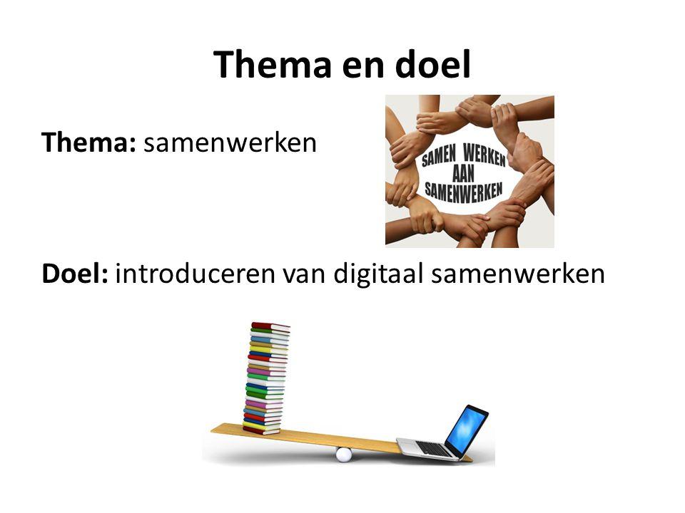 Thema en doel Thema: samenwerken Doel: introduceren van digitaal samenwerken