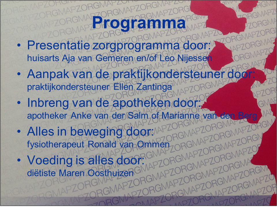 Programma Presentatie zorgprogramma door: huisarts Aja van Gemeren en/of Leo Nijessen.