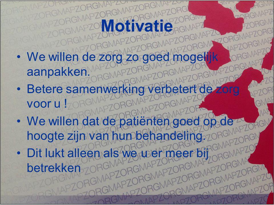 Motivatie We willen de zorg zo goed mogelijk aanpakken.