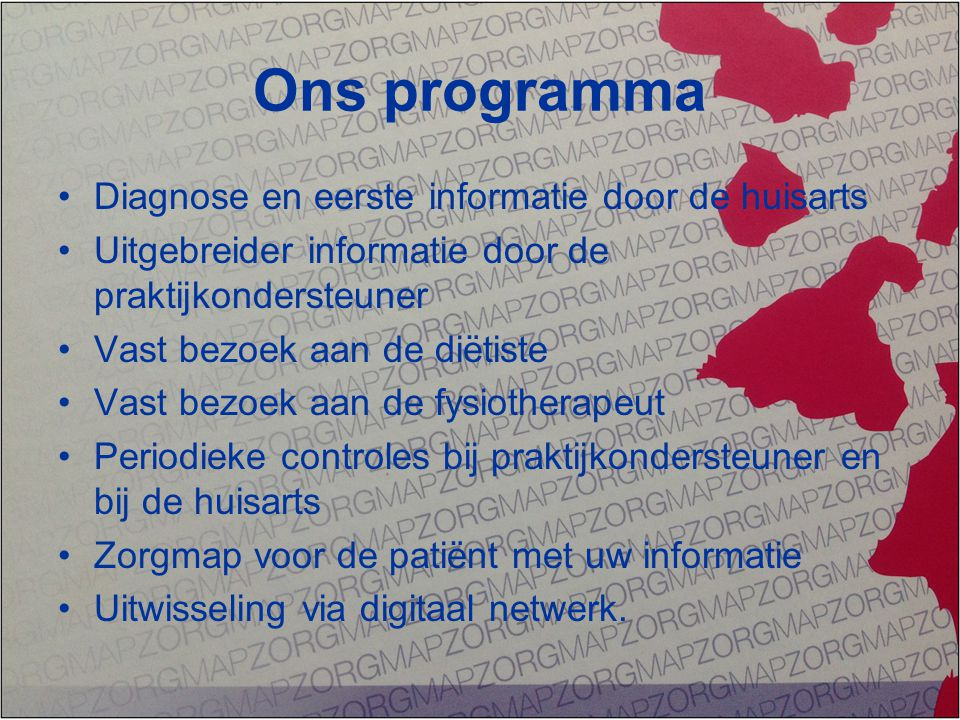 Ons programma Diagnose en eerste informatie door de huisarts
