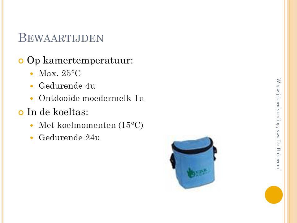 Bewaartijden Op kamertemperatuur: In de koeltas: Max. 25°C