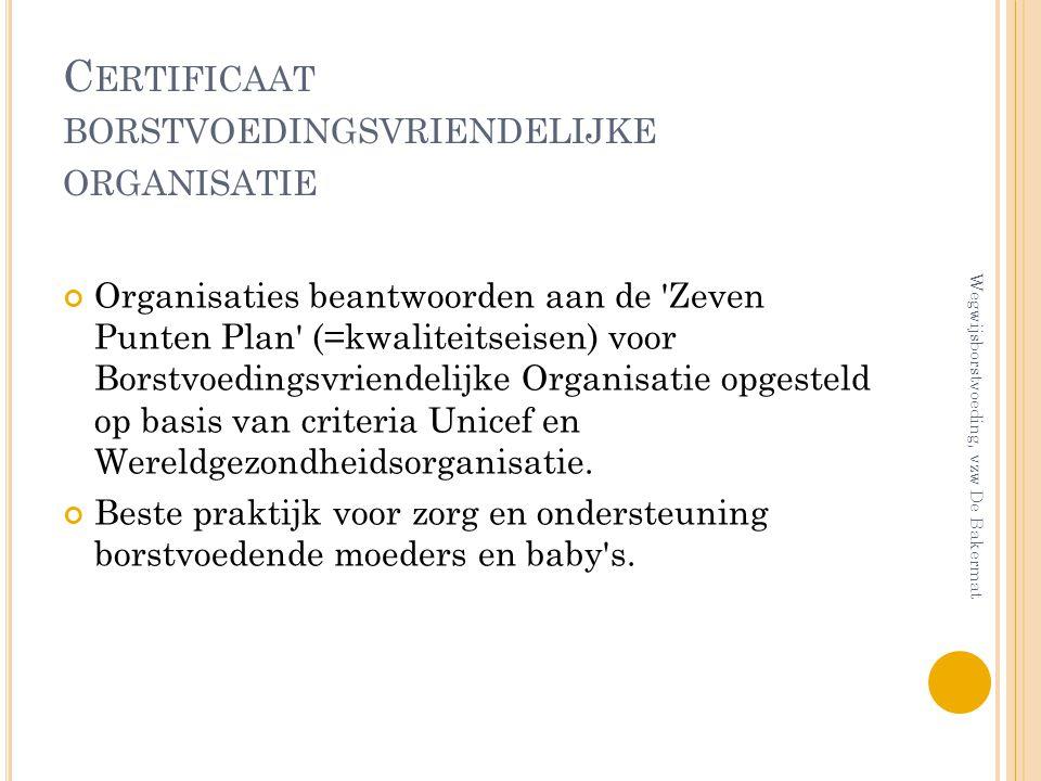 Certificaat borstvoedingsvriendelijke organisatie