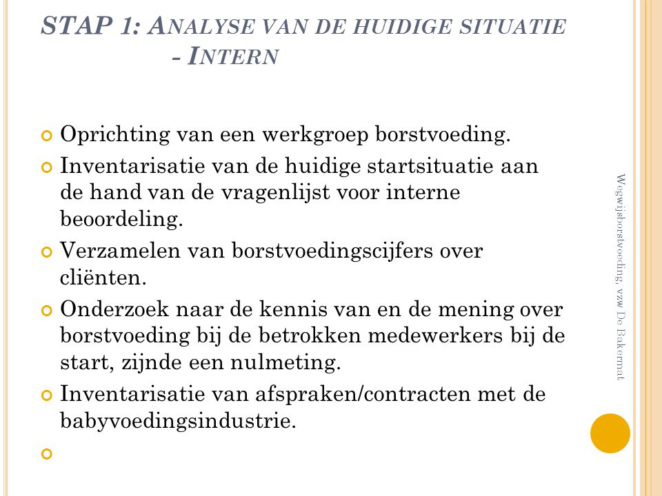 STAP 1: Analyse van de huidige situatie - Intern