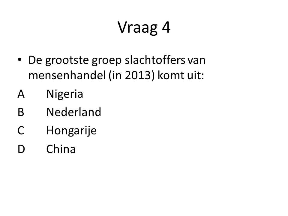 Vraag 4 De grootste groep slachtoffers van mensenhandel (in 2013) komt uit: A Nigeria. B Nederland.