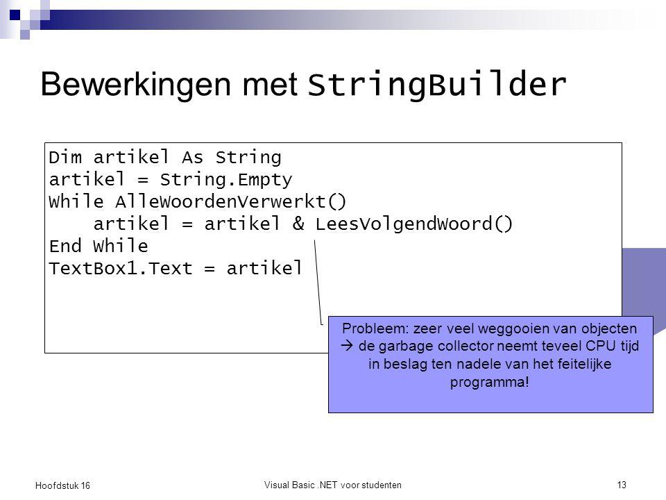 Bewerkingen met StringBuilder