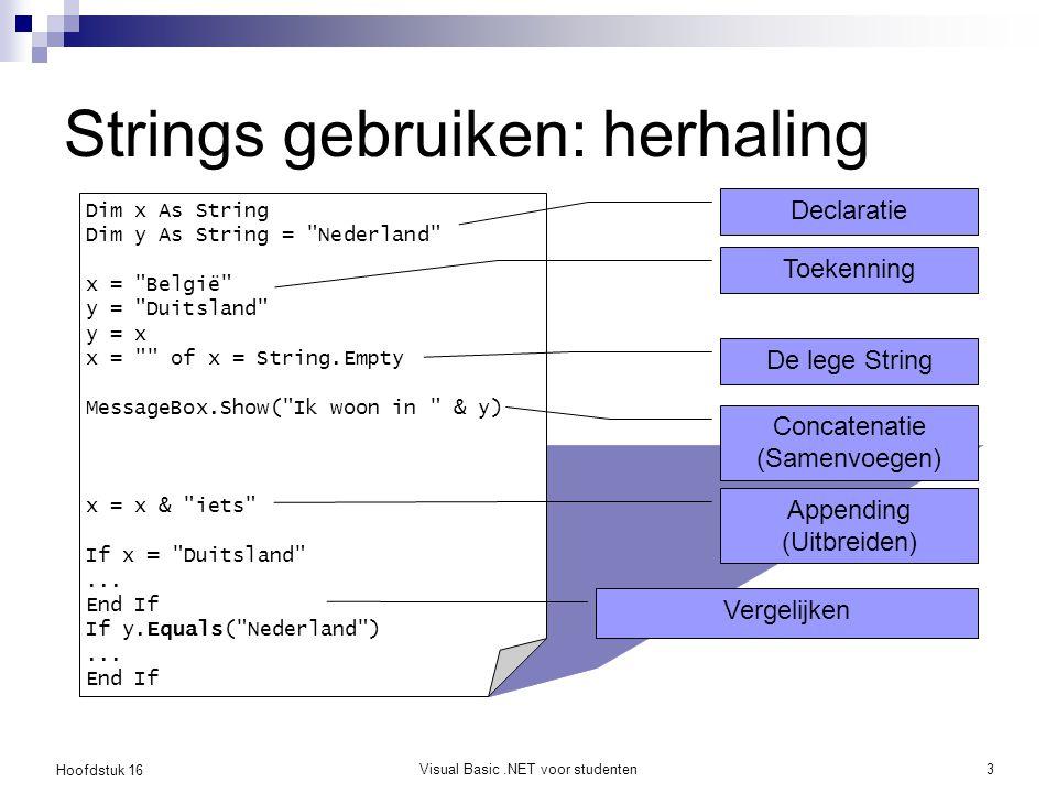 Strings gebruiken: herhaling