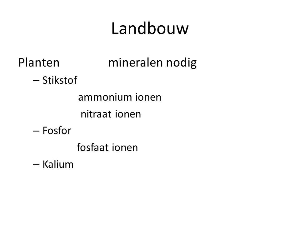 Landbouw Planten mineralen nodig Stikstof ammonium ionen nitraat ionen