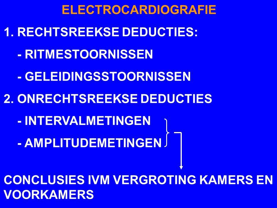 ELECTROCARDIOGRAFIE 1. RECHTSREEKSE DEDUCTIES: - RITMESTOORNISSEN. - GELEIDINGSSTOORNISSEN. 2. ONRECHTSREEKSE DEDUCTIES.