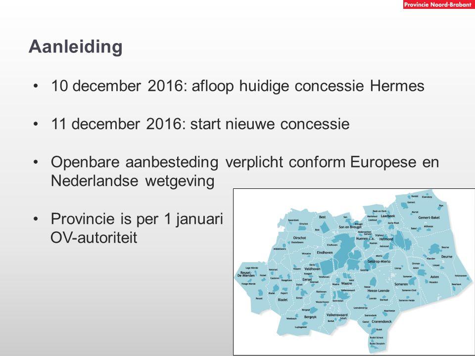 Aanleiding 10 december 2016: afloop huidige concessie Hermes