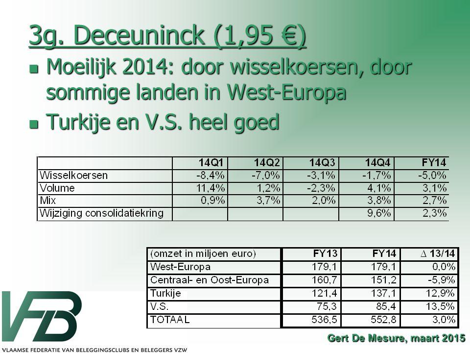 3g. Deceuninck (1,95 €) Moeilijk 2014: door wisselkoersen, door sommige landen in West-Europa. Turkije en V.S. heel goed.