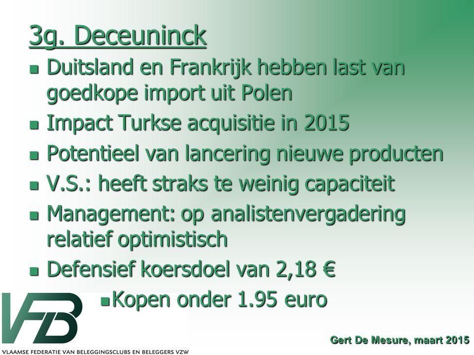 3g. Deceuninck Duitsland en Frankrijk hebben last van goedkope import uit Polen. Impact Turkse acquisitie in 2015.