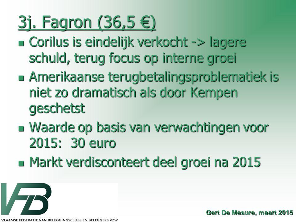 3j. Fagron (36,5 €) Corilus is eindelijk verkocht -> lagere schuld, terug focus op interne groei.