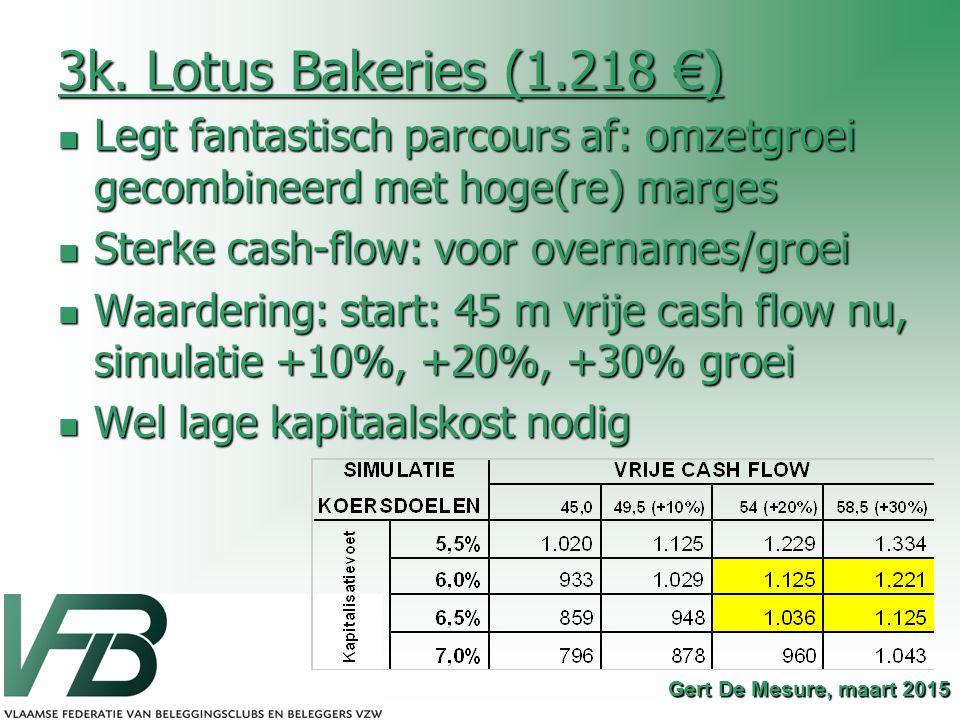 3k. Lotus Bakeries (1.218 €) Legt fantastisch parcours af: omzetgroei gecombineerd met hoge(re) marges.