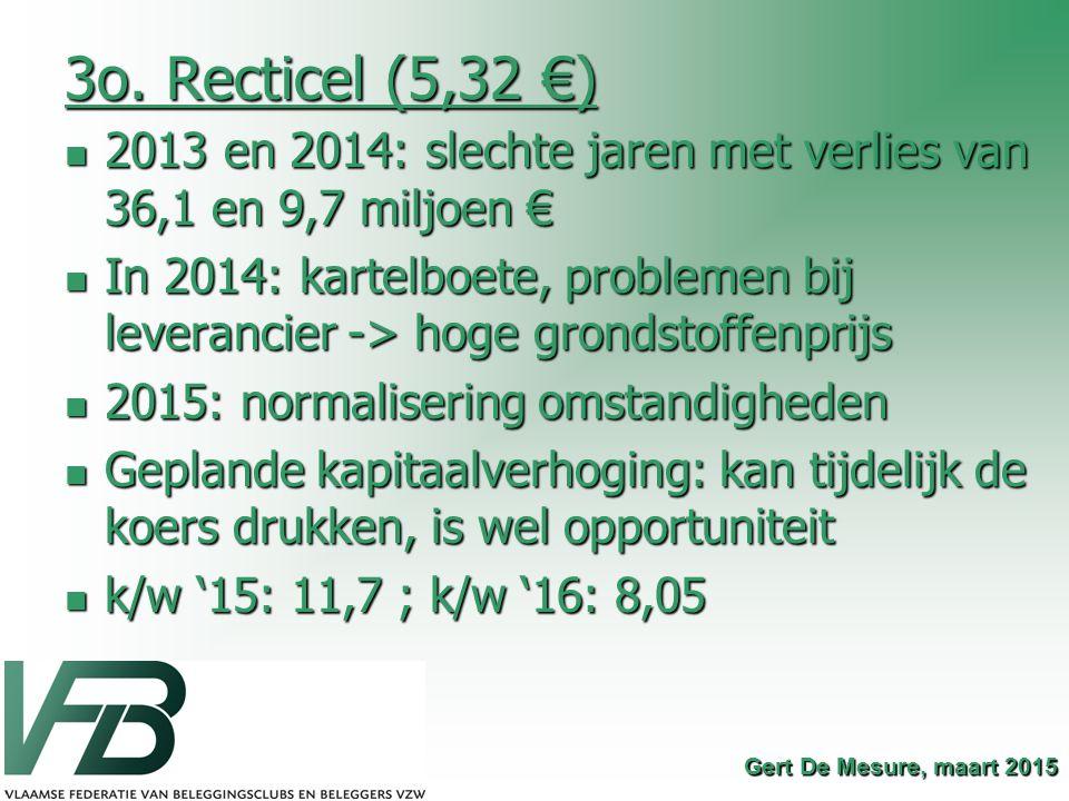 3o. Recticel (5,32 €) 2013 en 2014: slechte jaren met verlies van 36,1 en 9,7 miljoen €