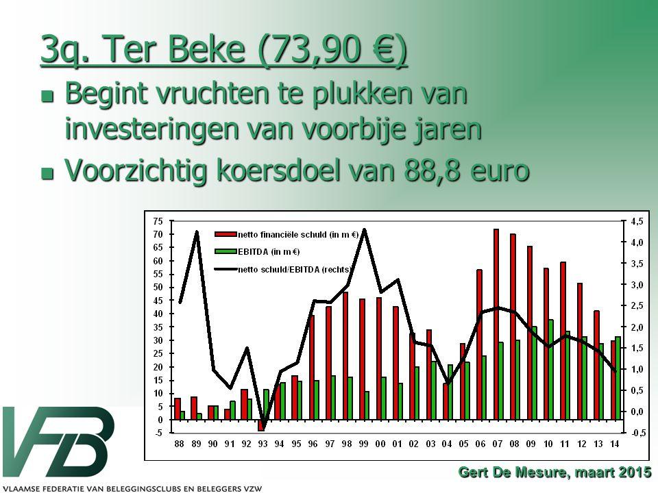 3q. Ter Beke (73,90 €) Begint vruchten te plukken van investeringen van voorbije jaren. Voorzichtig koersdoel van 88,8 euro.