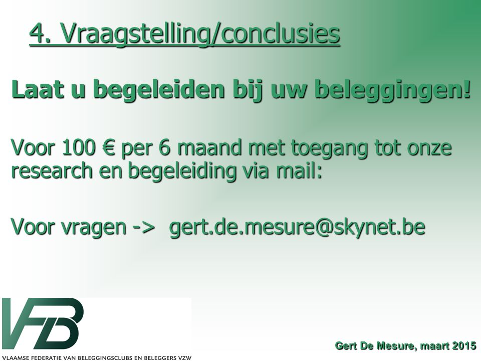 4. Vraagstelling/conclusies