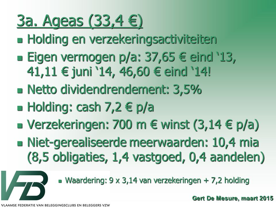 3a. Ageas (33,4 €) Holding en verzekeringsactiviteiten