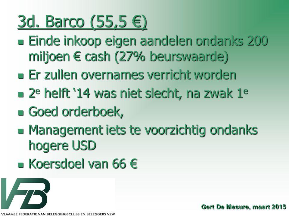 3d. Barco (55,5 €) Einde inkoop eigen aandelen ondanks 200 miljoen € cash (27% beurswaarde) Er zullen overnames verricht worden.