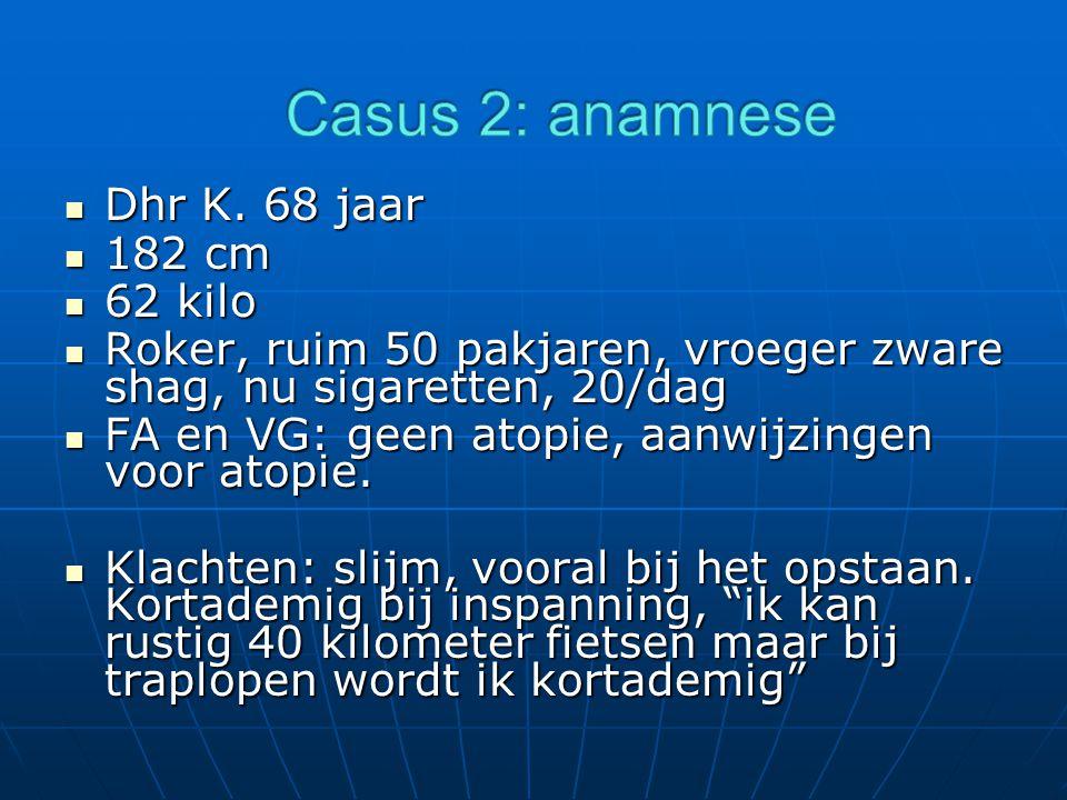 Casus 2: anamnese Dhr K. 68 jaar 182 cm 62 kilo