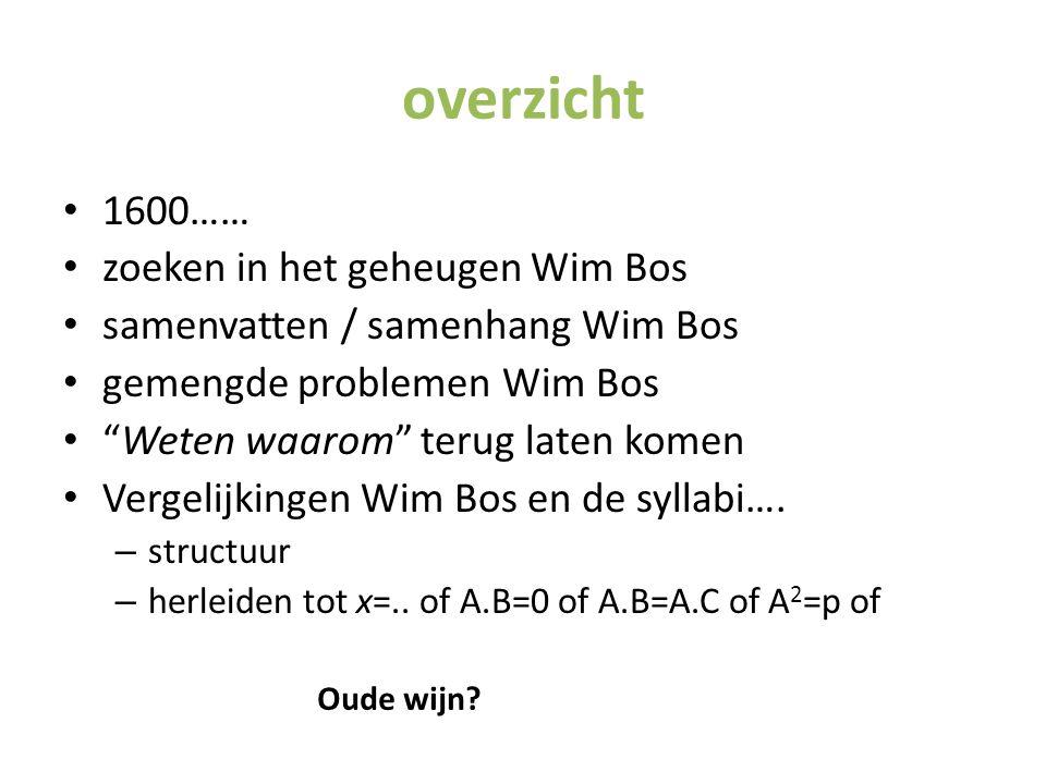 overzicht 1600…… zoeken in het geheugen Wim Bos
