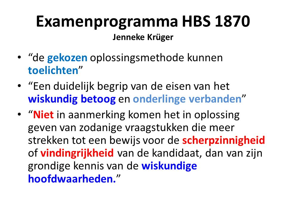 Examenprogramma HBS 1870 Jenneke Krüger