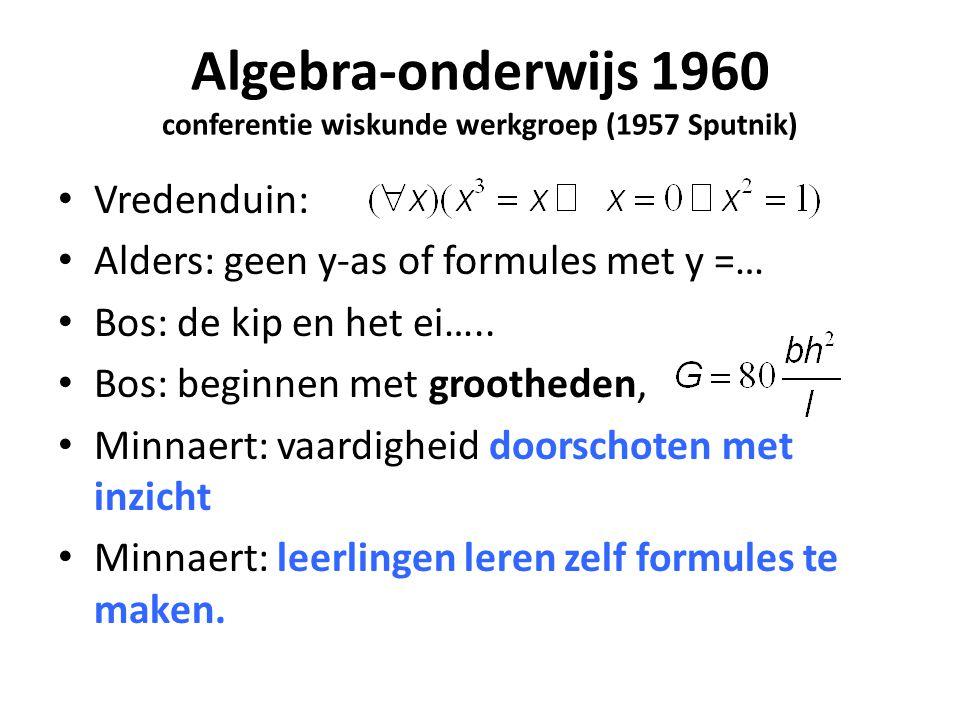 Algebra-onderwijs 1960 conferentie wiskunde werkgroep (1957 Sputnik)