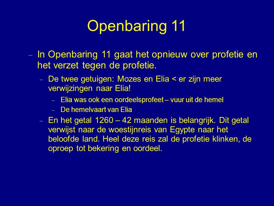 Openbaring 11 In Openbaring 11 gaat het opnieuw over profetie en het verzet tegen de profetie.