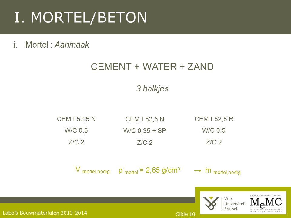 I. MORTEL/BETON CEMENT + WATER + ZAND Mortel : Aanmaak 3 balkjes