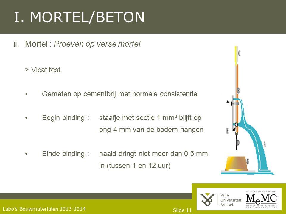 I. MORTEL/BETON Mortel : Proeven op verse mortel > Vicat test