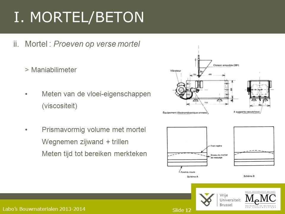 I. MORTEL/BETON Mortel : Proeven op verse mortel > Maniabilimeter