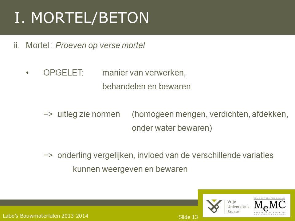 I. MORTEL/BETON Mortel : Proeven op verse mortel