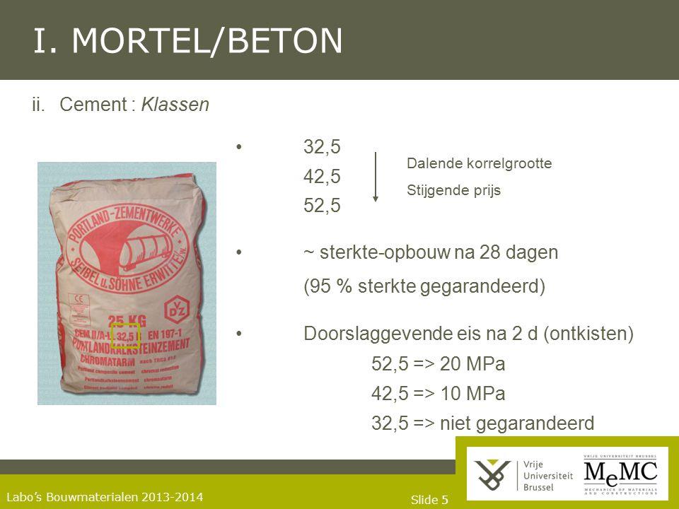 I. MORTEL/BETON ii. Cement : Klassen • 32,5 42,5 52,5