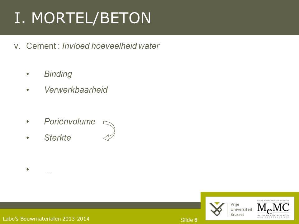 I. MORTEL/BETON Cement : Invloed hoeveelheid water • Binding