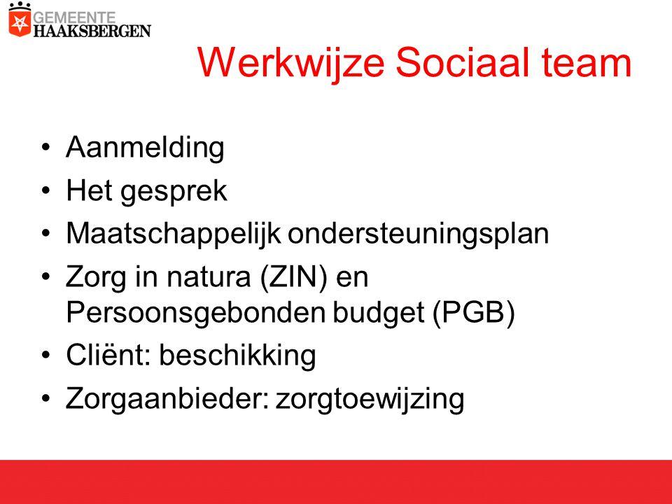 Werkwijze Sociaal team