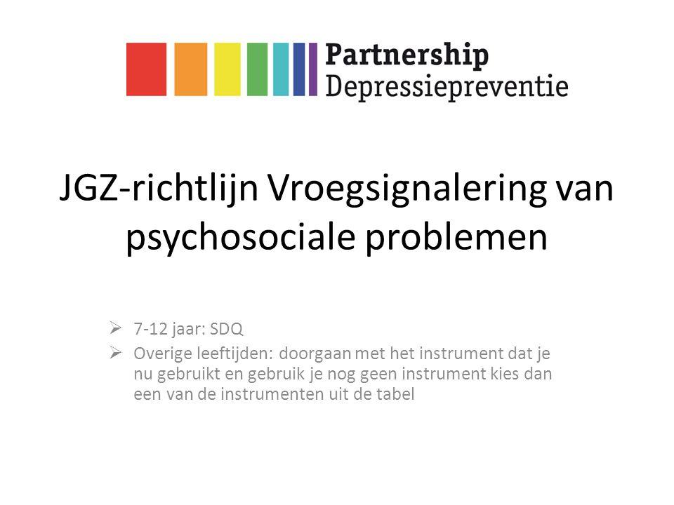 JGZ-richtlijn Vroegsignalering van psychosociale problemen