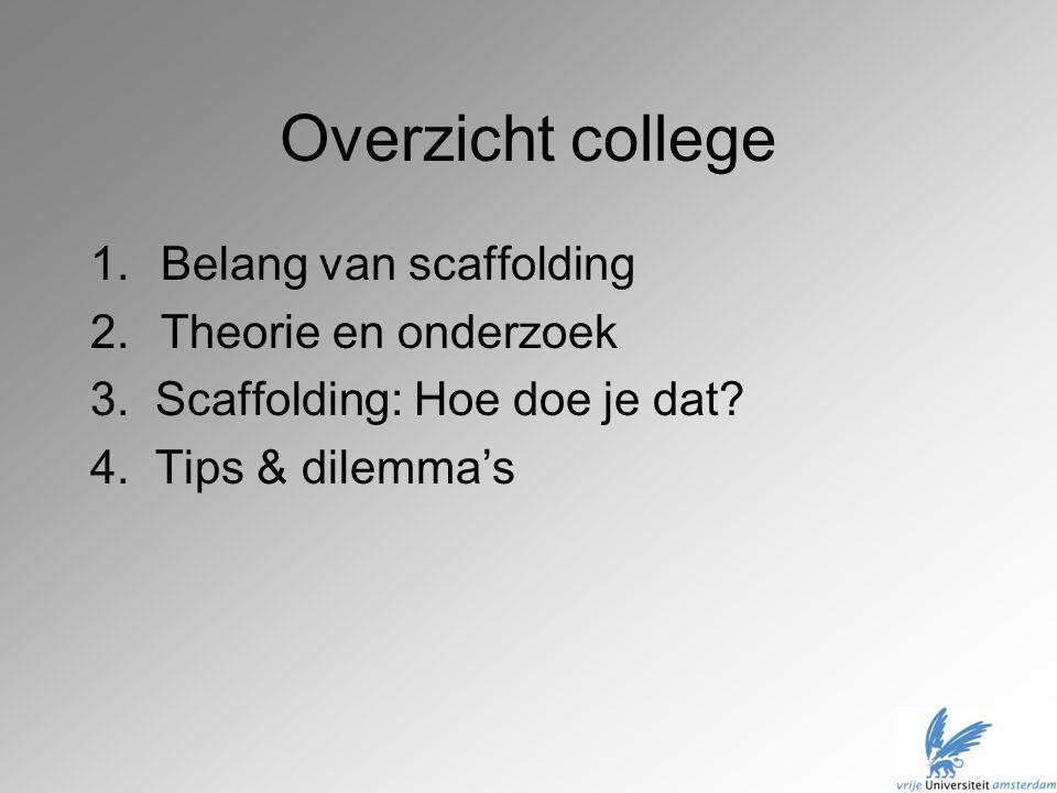 Overzicht college Belang van scaffolding Theorie en onderzoek