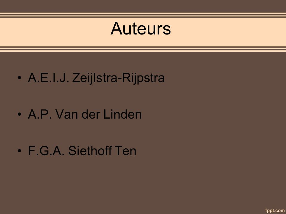 Auteurs A.E.I.J. Zeijlstra-Rijpstra A.P. Van der Linden