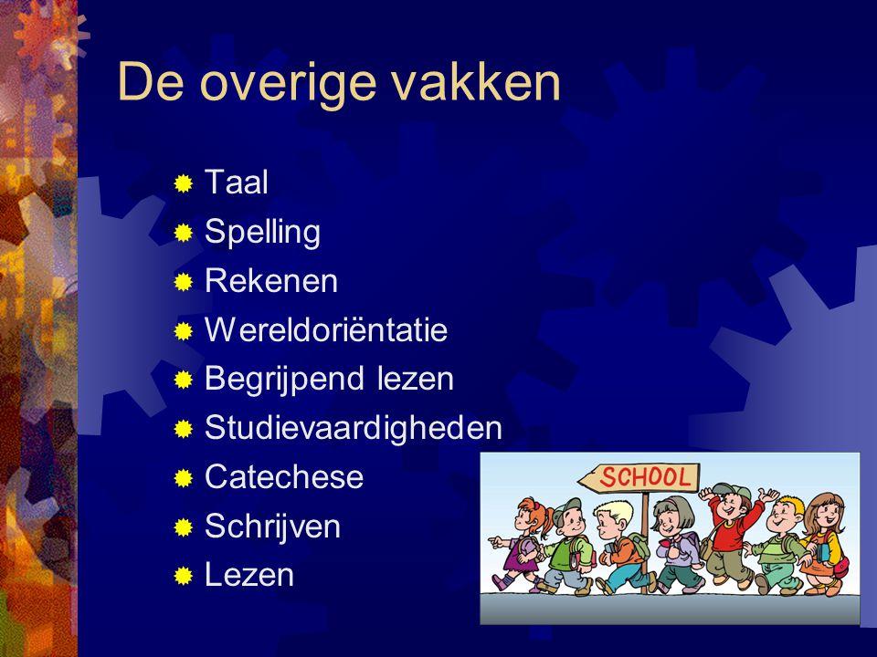 De overige vakken Taal Spelling Rekenen Wereldoriëntatie