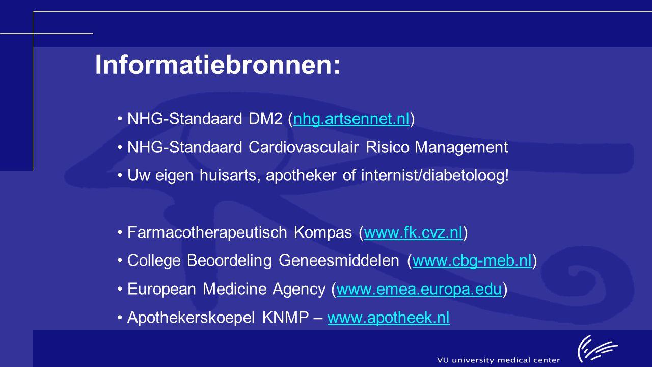 Informatiebronnen: NHG-Standaard DM2 (nhg.artsennet.nl)