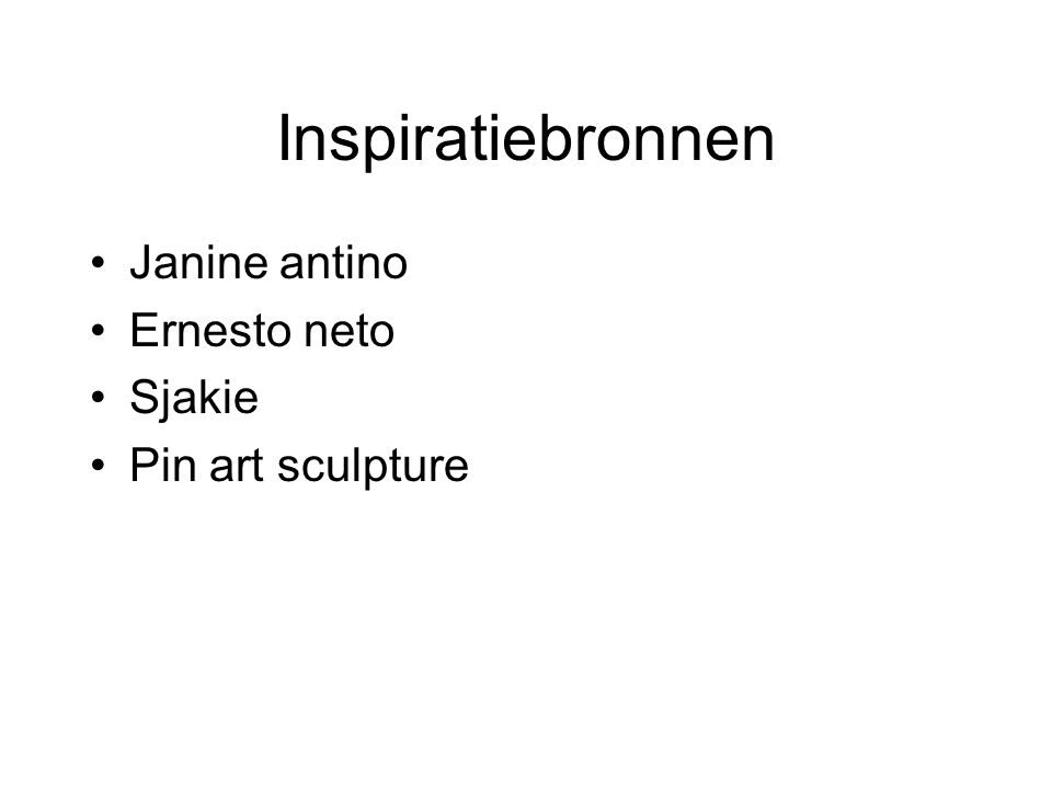 Inspiratiebronnen Janine antino Ernesto neto Sjakie Pin art sculpture