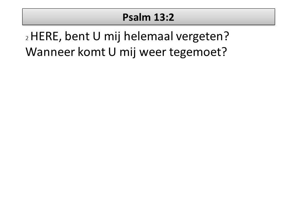 Psalm 13:2 2 HERE, bent U mij helemaal vergeten Wanneer komt U mij weer tegemoet